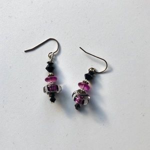 Purple and Black Beaded Earrings